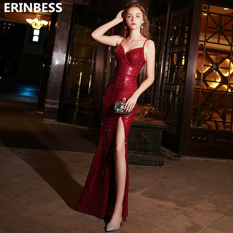 Sexy Red Mermaid Prom Dresses Robe De Soiree Sweetheart Sleeveless Sequin Special Occasion Dresses 2019 Long Prom Dress