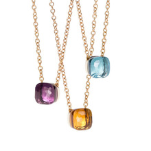SLJELY Famous Brand Elegant Multicolor Candy Faceted Crystal and Stone Square Pendant Necklace Fashion Women Girls Party Jewelry