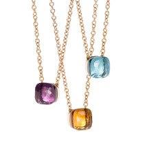 SLJELY collier à facettes carrées en cristal et en pierre, multicolore, de marque célèbre, bijou de fête pour femmes et filles à la mode