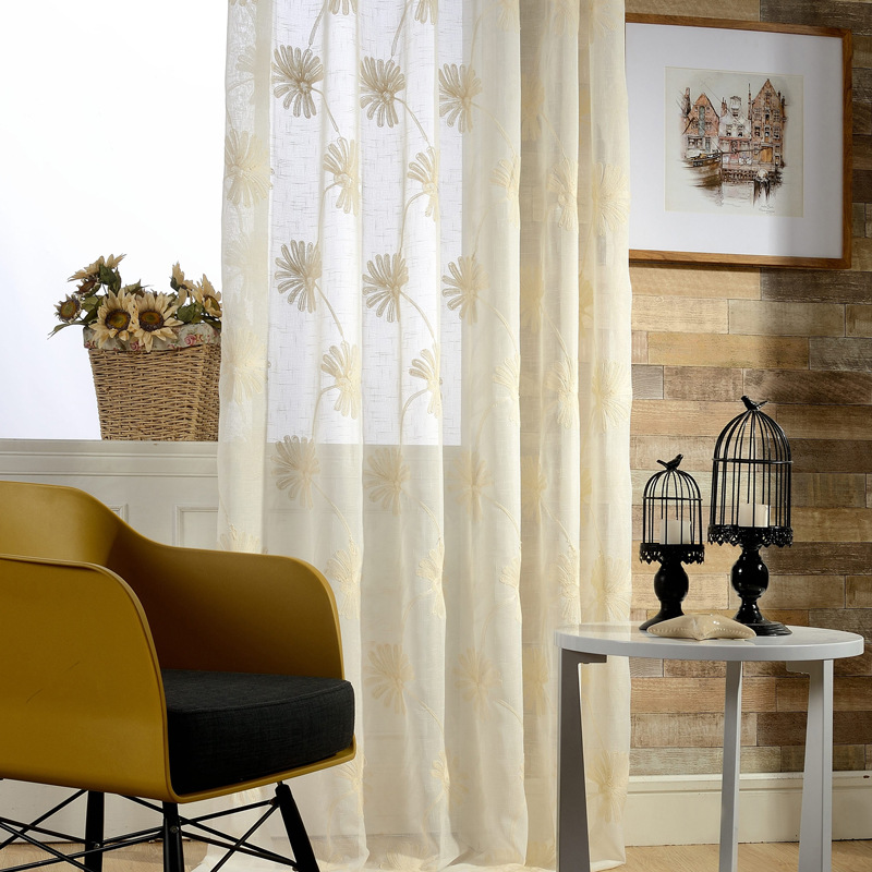 hot embroidered floral sheer curtains for living room modern style tulle curtain rideaux pour le. Black Bedroom Furniture Sets. Home Design Ideas
