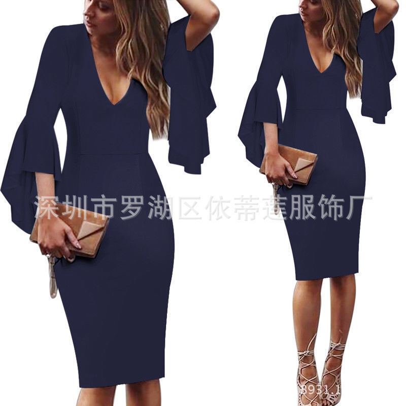 Сексуальные коктейльные платья с v-образным вырезом, Короткие вечерние платья с длинным рукавом, платье длиной до колена, коктейльное повседневное облегающее платье с оборками - Цвет: Navy Blue