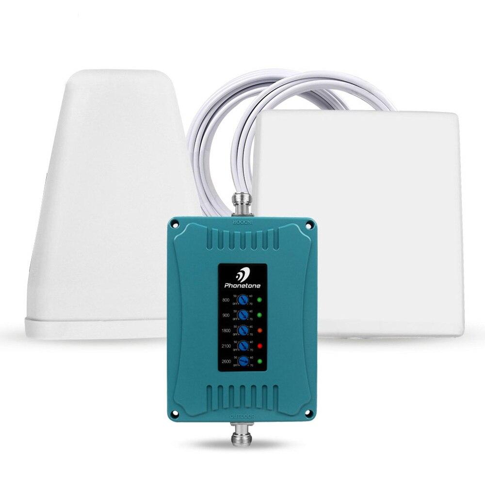 Amplificateur de signal de téléphone portable GSM Répéteur cellulaire GD 900 Répéteur WCDMA 800/900 / 1800/2100/ 2600MHz 70dB Amplificateur à cinq bandes pour la maison et le bureau - Données Boost Voice, 2G, 3G,4G LTE
