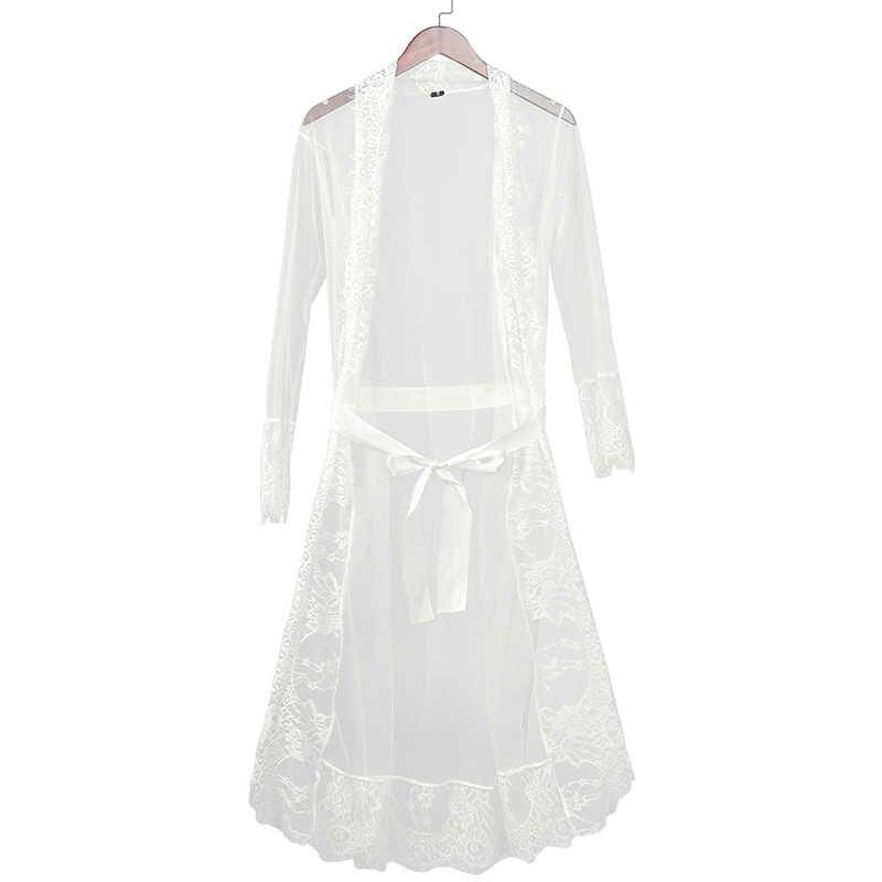 新ナイトガウンマキシレースのローブセクシーなパジャマバスローブ女性着物ドレッシング