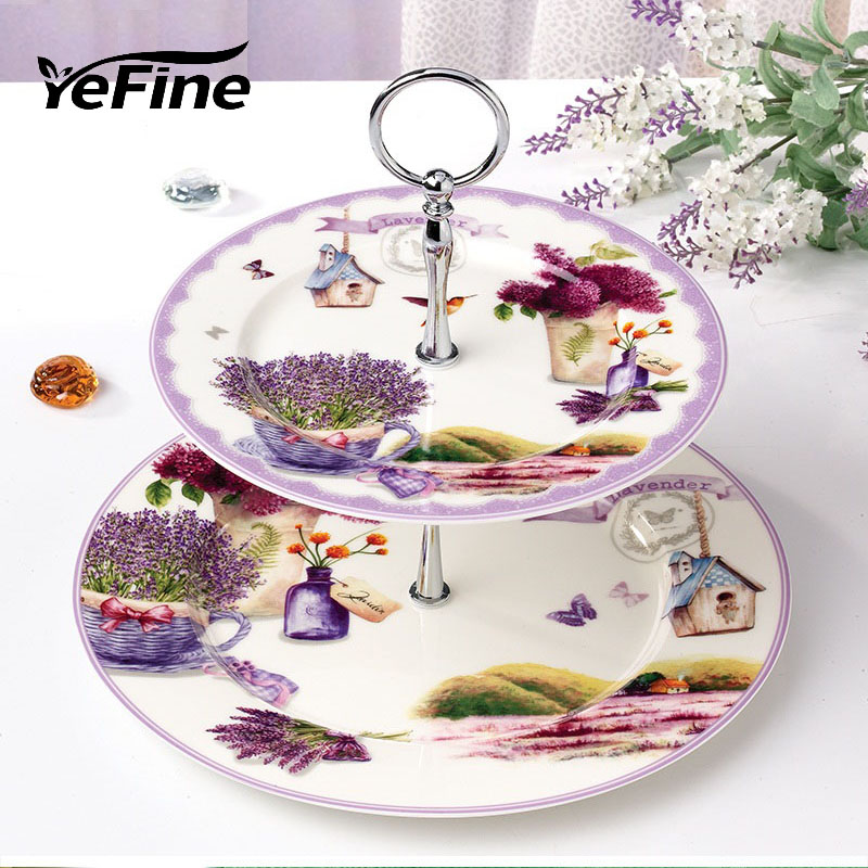 YeFine Ceramic Lavender Pattern Design Double layer Porcelain Fruit Display Stand Cake Snack Tray Table Pastry