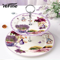YeFine Ceramic Lavender Pattern Design Double layer Porcelain Fruit Display Stand Cake Snack Tray Table Pastry Dishes And Plates