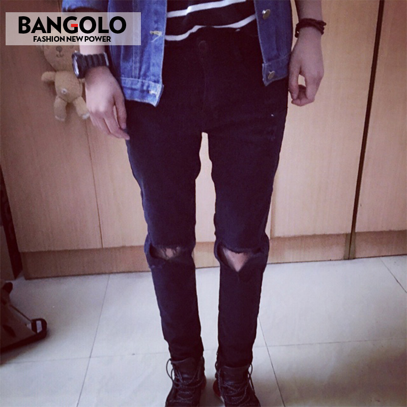 ФОТО Mens Skinny jeans men 2016 Runway Distressed slim elastic jeans denim Biker jeans hiphop pants Washed black jeans for men blue