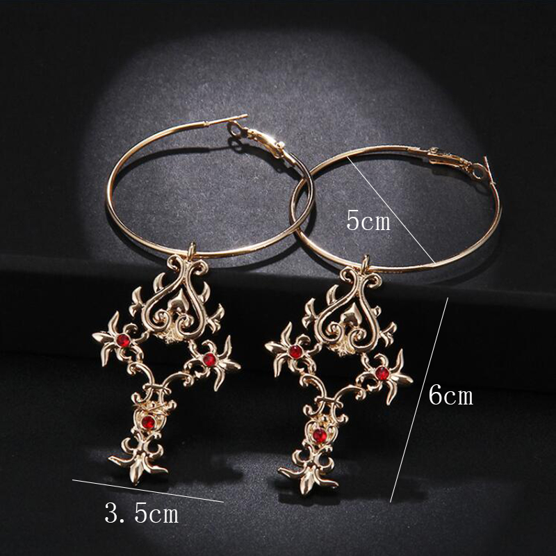 Rscvonm 2018 New Arrival Vintage Red Crystal Cross Drop Earrings For Women Pink Baroque Bohemian Large Long Jewelry Whole