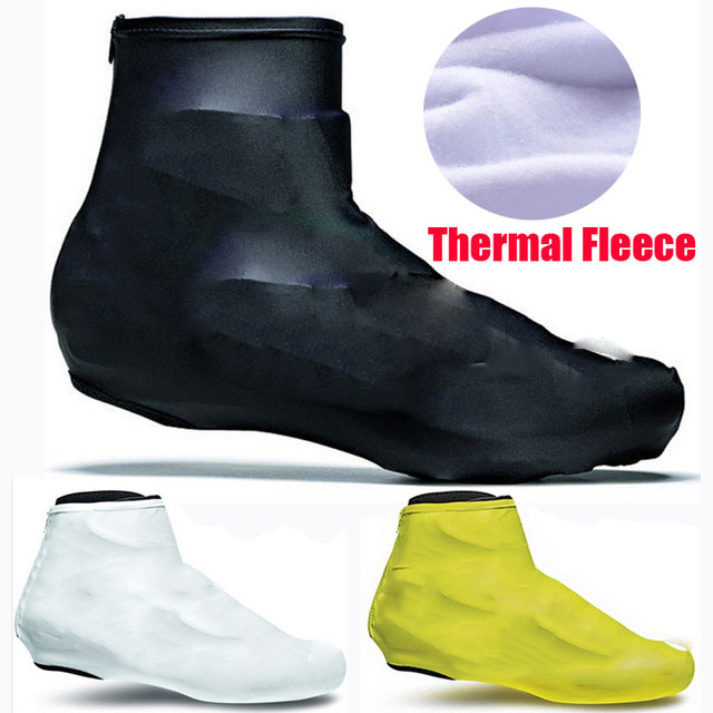 1 Pair Thermal Fleece Cycling Shoe Covers Winter Overshoes Covers Warm Windproof Bicycle Cycling Shoe Covers 6 Colors