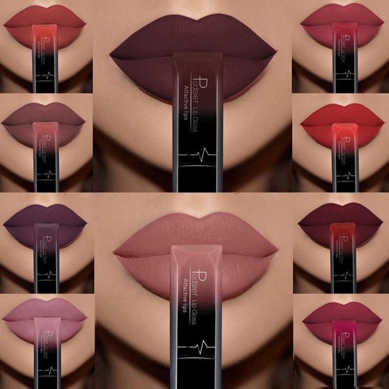 Hot Sale Waterproof Nude Matte Velvet Bright Lip Gloss Lipstick Lip Balm Sexy Red Lip Tint 21 Colors Fashion Women Makeup Gift