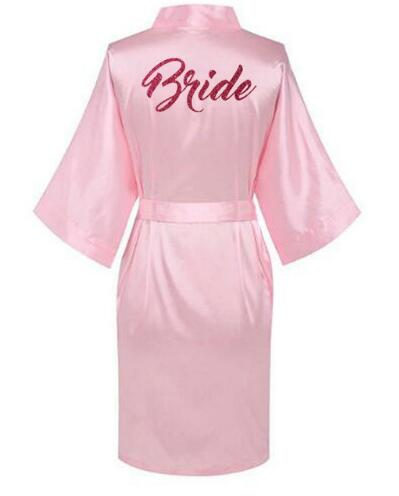Women Satin Silk robes Gown Wedding Bride robe Bridesmaid Bridal robe HP002 AU(China)