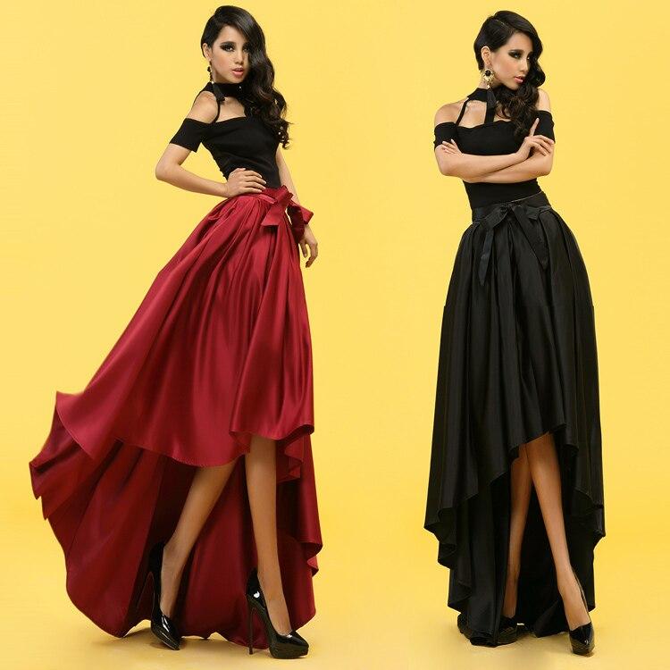 Топ моды Лидер продаж ни один сплошной атласной микрофибры длиной до колена бальное платье модные длинные Юбки для женщин для Юбка для дево...