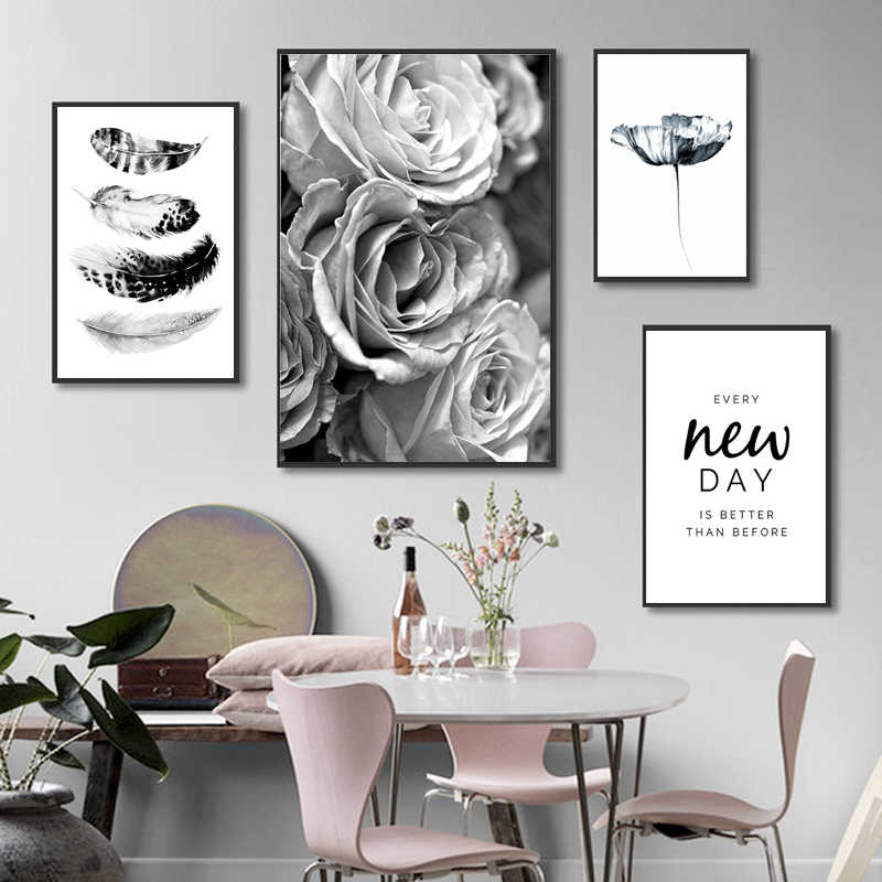 Black and White Wall Art Rose Flower Canvas Painting Feather Quote Posters and Prints Minimalist Pictures for Living Room Decor