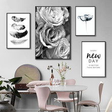 Black and White Wall Art Rose Flower Canvas Painting Feather Quote Posters and Prints Minimalist Pictures for Living Room Decor(China)