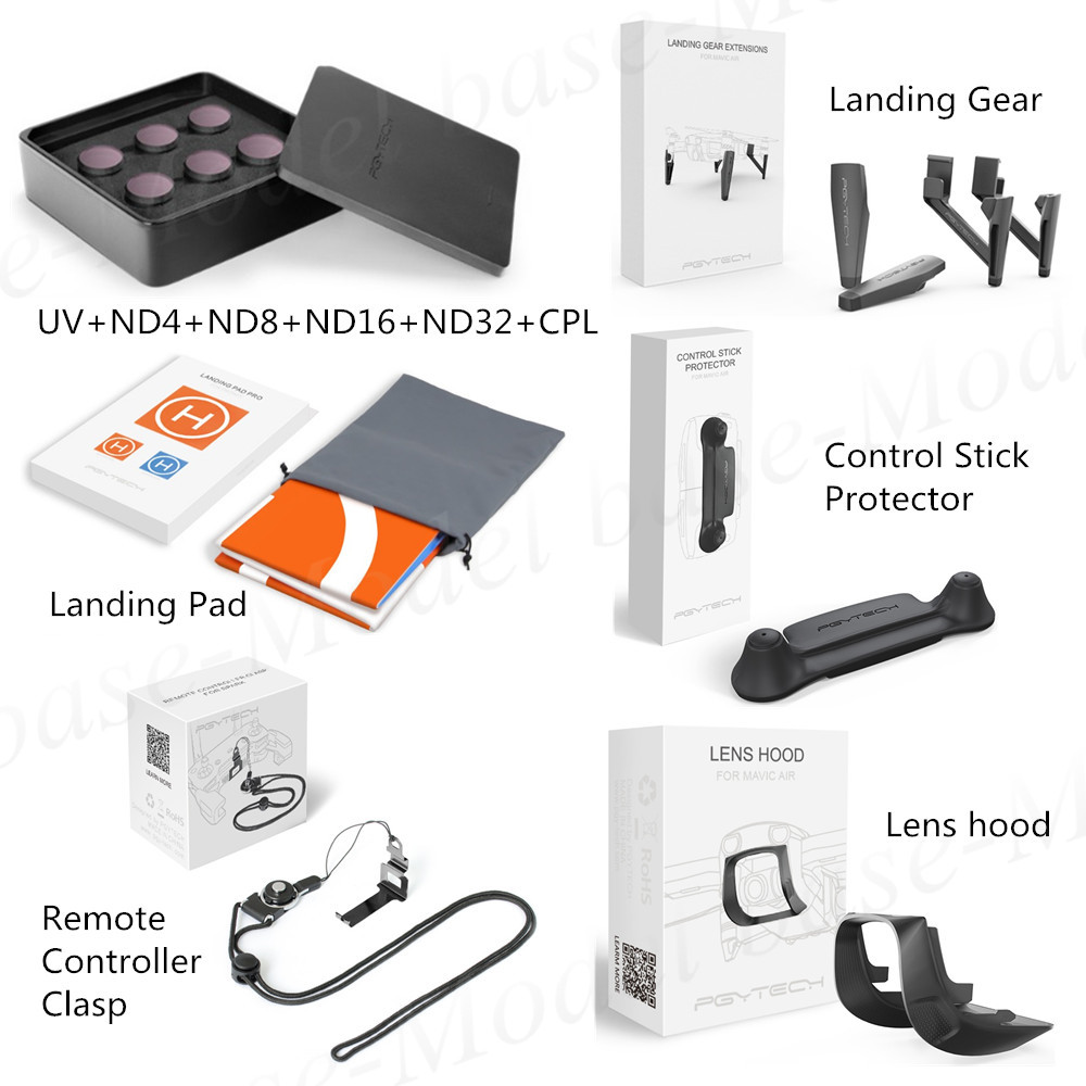 Lens hood+Lens Filters UV/CPL/ND4/ND8/ND16/ND32+Control Stick Protector+Landing Pad+Controller Clasp+Landing Gear for MAVIC AIR 6pcs set pgytech original lens filters for phantom 4 pro drone accessories g hd mcuv nd4 nd8 nd16 nd32 cpl hd filter