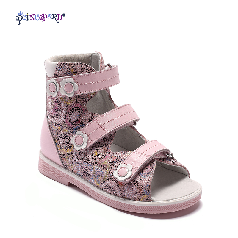 Princepard New Children Pink Flowered Printing Leather Orthopedic Shoes Kids Girls High Quality Sandals With Hard Sole kelme 2016 new children sport running shoes football boots synthetic leather broken nail kids skid wearable shoes breathable 49