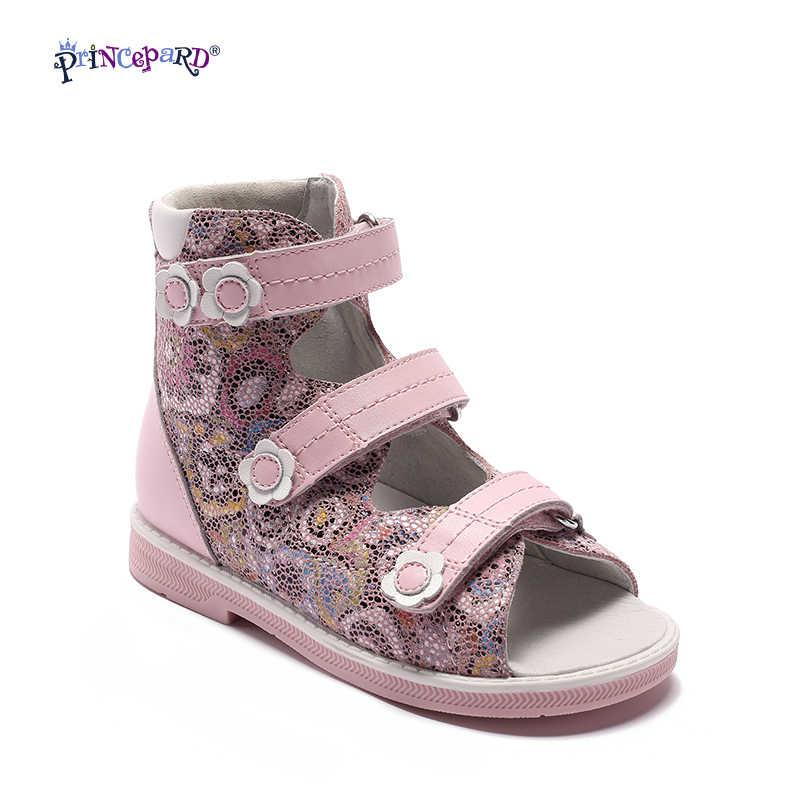 e5bca780e Princepard Новые Детские розовый в цветочек с принтом ортопедические Обувь  дети Обувь для девочек Высококачественные босоножки