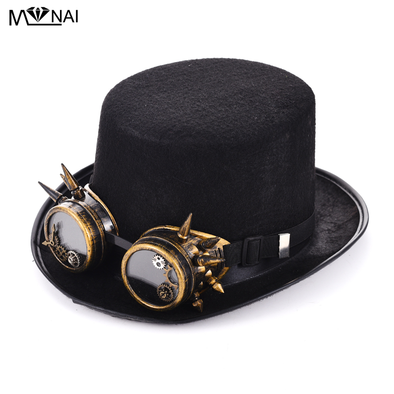 Cyber Steampunk Hats With Goggles Gothic Fancy Dress Vintage Retro Cosplay Accessories Handmade Mens Fedora Hat(China)