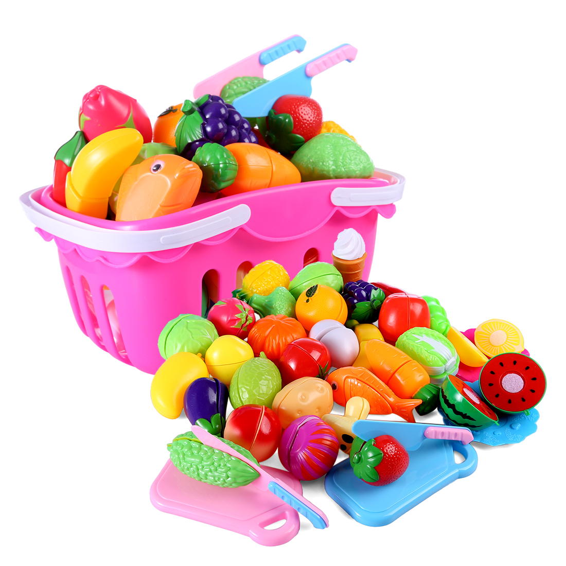 37pcs Classic Game Simulation Kitchen Series Toys Cutting Fruit And Vegetable Toys Montessori Early Education Gifts With Basket