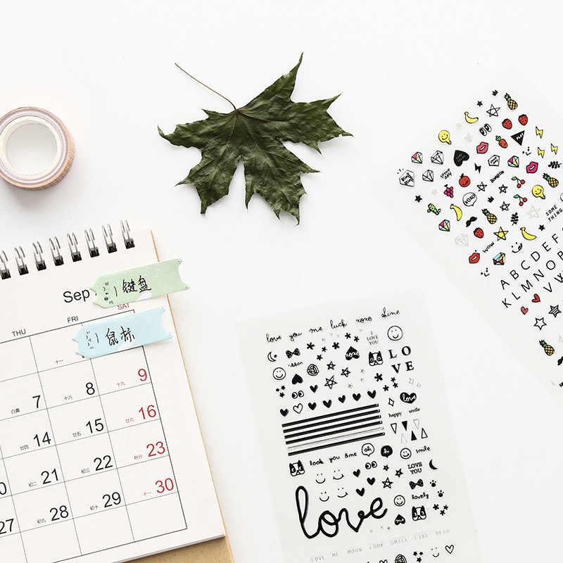 Kawaiiดอกไม้Spaceกระดาษทำด้วยมือเล็บสติกเกอร์Bullet Journalน่ารักใบตกแต่งScrapbookingเครื่องเขียนสติกเกอร์