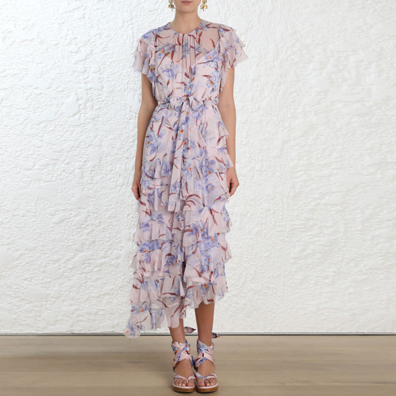 Runway Dress Women 2019 Fashion Petal Sleeve Violet Floral Printed Chiffon Long Cake Dress Loose Irregular Summer Holiday Dress image