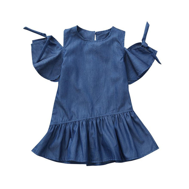 ee513189be4 Toddler Infant Baby Girls Dress Solid Denim Irregular Dresses Outfits  Clothing kids dresses for girls unicorn party Free Ship  s
