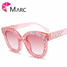 MARC UV400 2018 NEW WOMEN MEN sunglasses Gradient  Oculos eyewear Cat eye Black Pink Sver Plastic