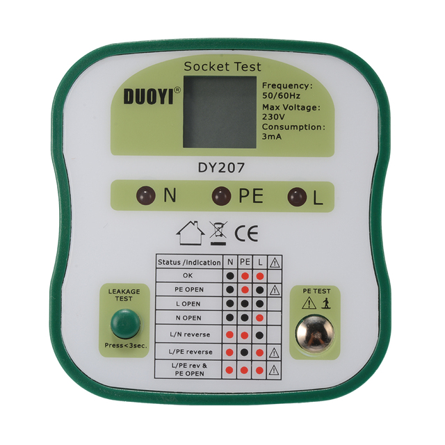 Electrical Power Socket Tester Polarity Checker Outlet Safety ...
