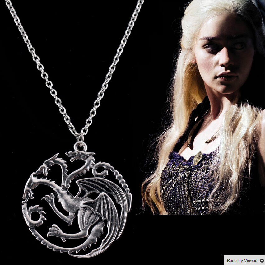 Nanana jewelry store Best Quality Song Of Ice And Fire Game Of Thrones Targaryen Dragon Badge Necklace  C54-C56