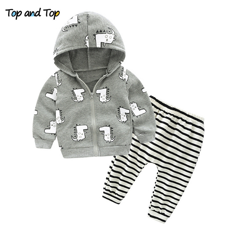 Baby Outfits Clothing-Sets Pants Tracksuit Cotton Casual Cartoon Top And 2pcs Hooded