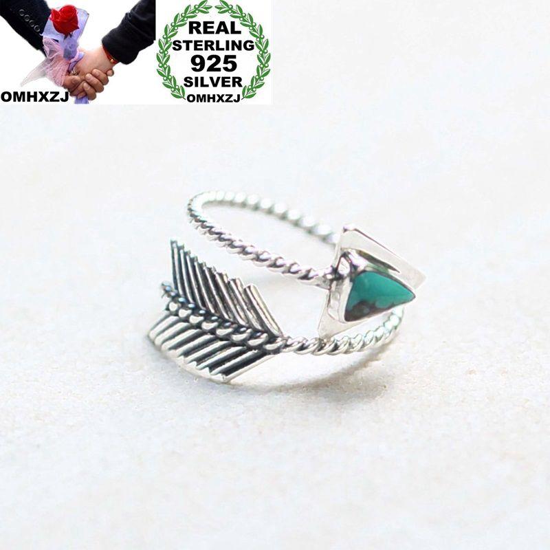 OMHXZJ Wedding-Gift Taiyin-Ring Silver Black Green Fashion Woman Arrow European Girl