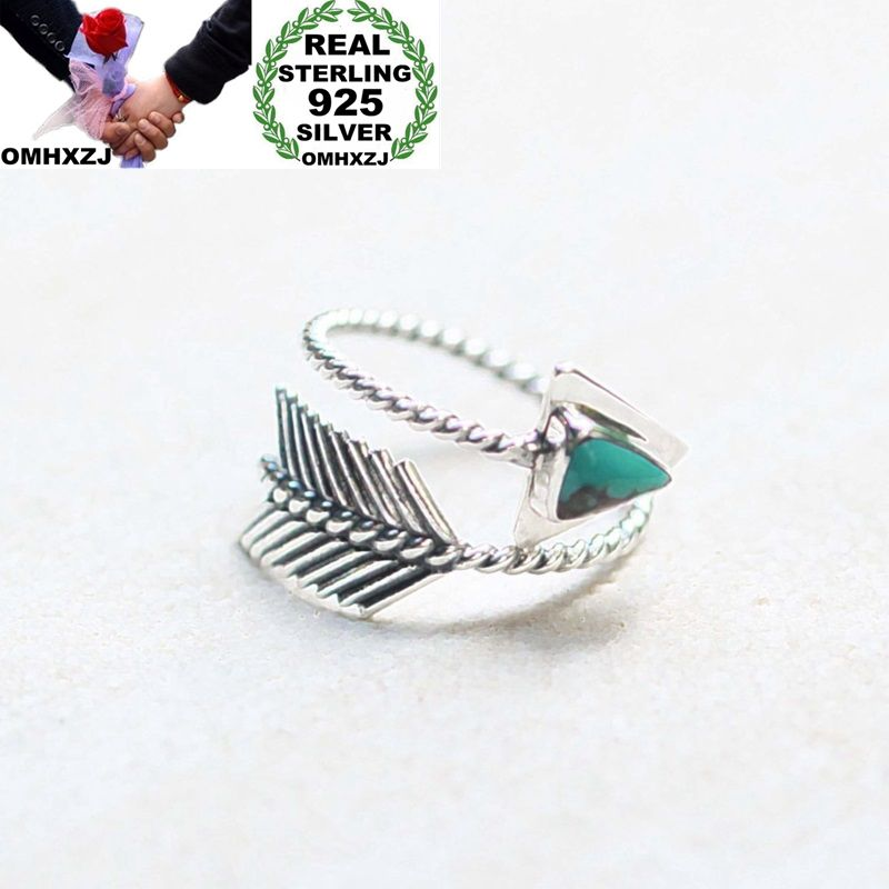 OMHXZJ Wholesale European Fashion Woman Girl Party Wedding Gift Silver Black Green Leather Arrow Taiyin Ring RR336