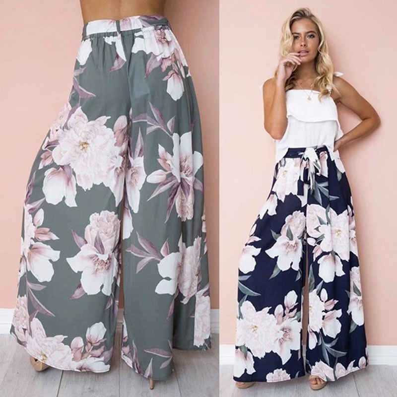 0d24cf9e29c Womens Floral Palazzo Pants High Waist Wide Leg Culottes Ladies Loose  Casual Long Trousers