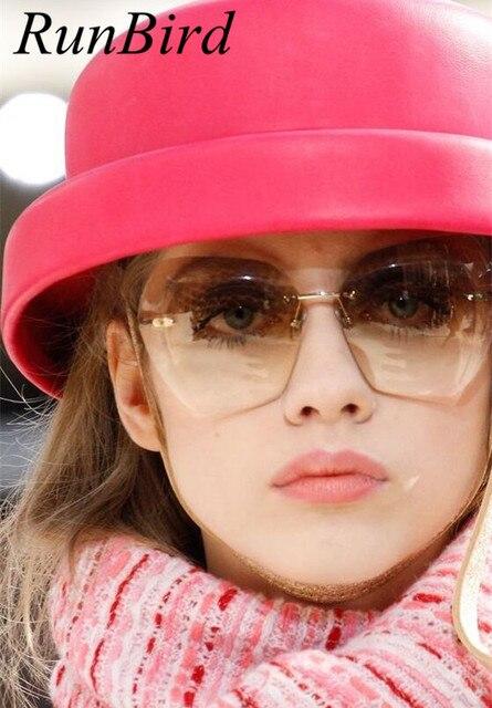 RunBird Hot New Rimless Sunglasses Women Brand Designer Retro Sunglass Classic Female Gradient Vintage Points Sun Glasses 602R