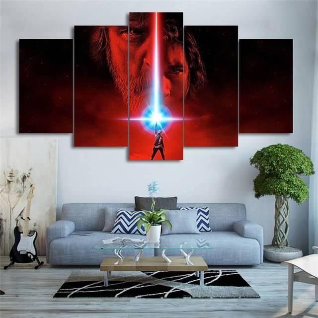 859 Moderna Decoración Del Hogar Del Arte De La Pared Marcos Cuadros Modulares 5 Unidades Película Star Wars último Jedi Hd Impresión Lienzo