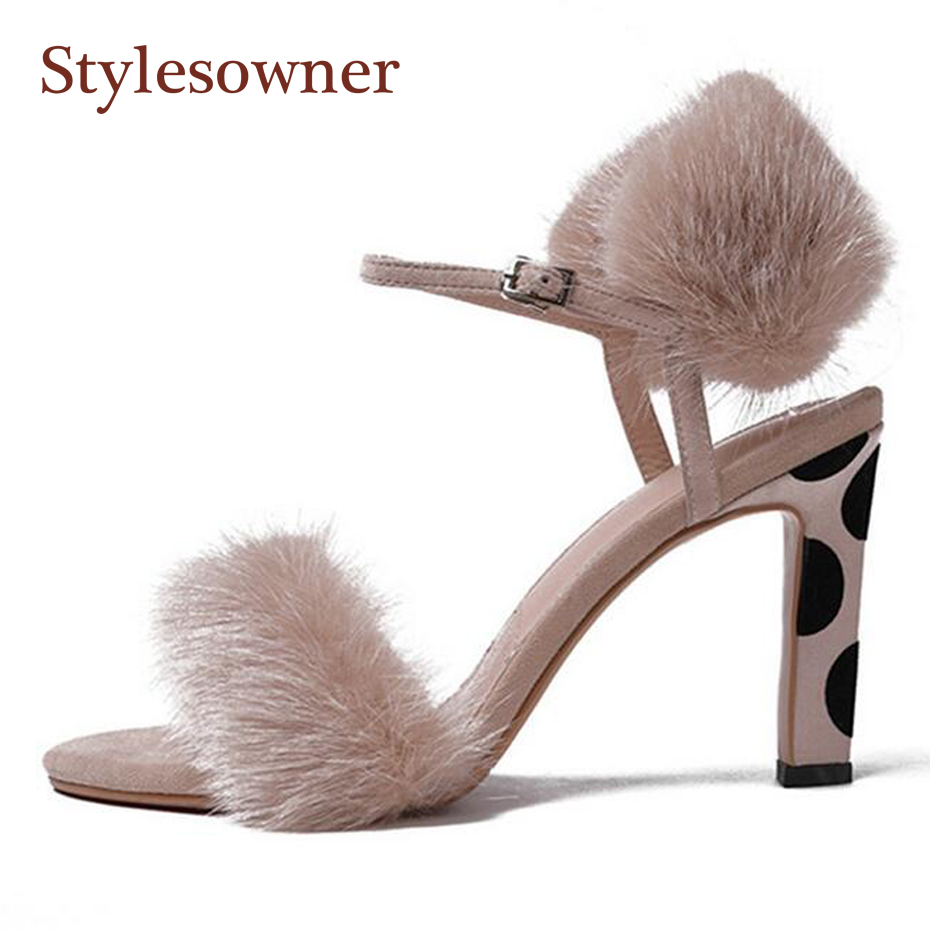 Stylesowner fashion fur with suede leather women sandals sexy peep toe buckle strap gladiator sandal sexy lady shoes high heels 2018 summer new arrived strap design wedges women sandals peep toe comfort mid heel sexy lady sandal fashion student casual shoe