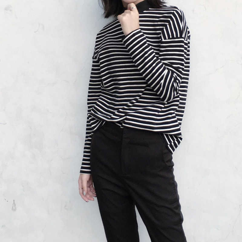 New Women Turtleneck Korean Style T Shirt Harajuku Crop Top Long Sleeved Striped Tops Female T Shirt Summer Casual Tops