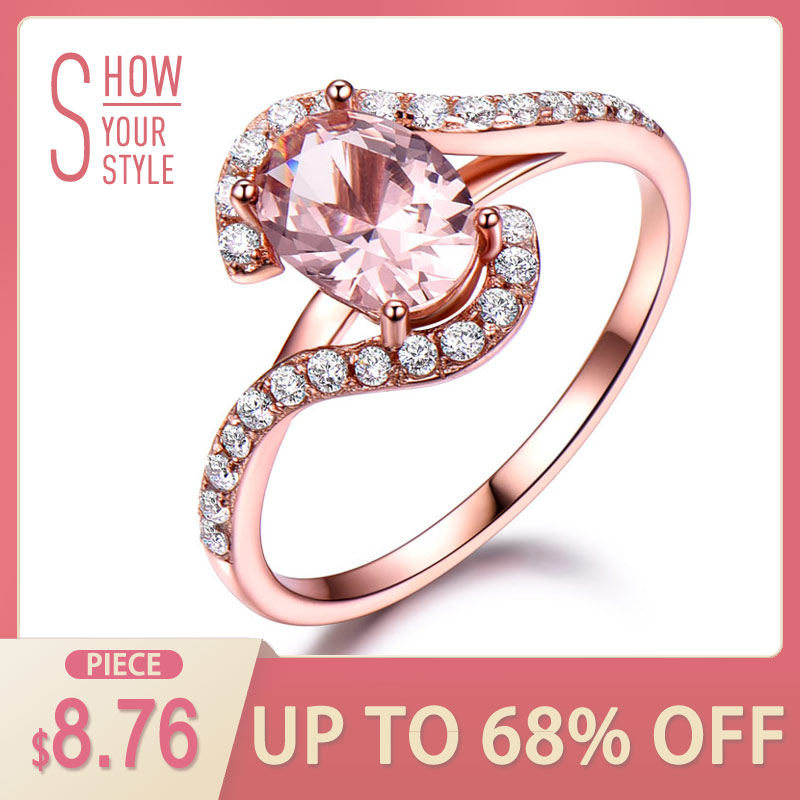 UMCHO Silver 925 Pink Sapphire Rings For Women Engagement Party Rose Gold Gold Ring New Fashion Promise Rings Fine Jewelry