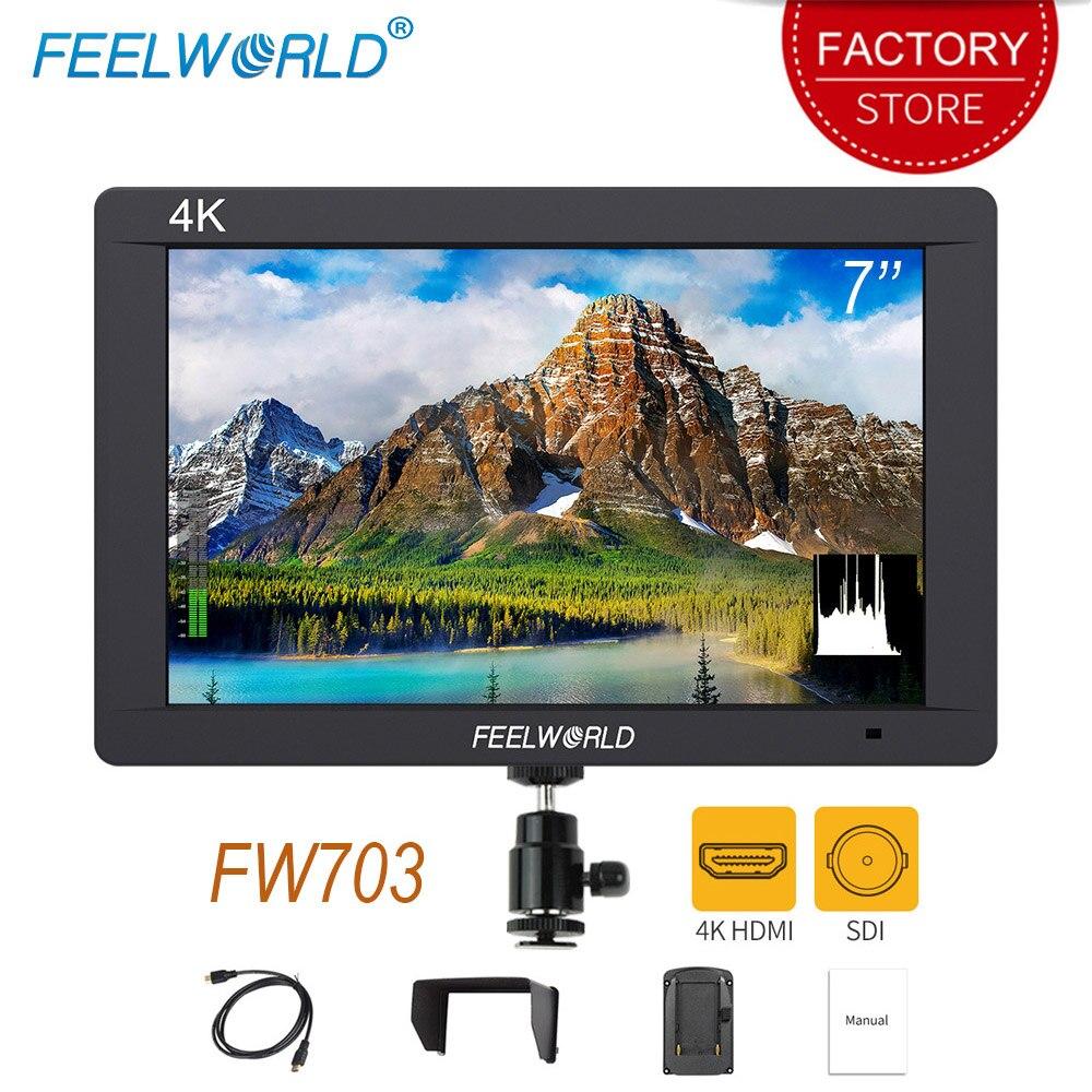 FEELWORLD FW703 7 дюймов 3G SDI монитор 4K HDMI Full HD 1920x1200 LCD IPS полевой монитор для 4K цифровых камер BMCC стабилизатор