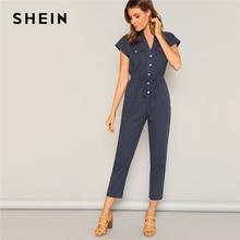 купить SHEIN Navy Waist Drawstring Button and Pocket Front Solid Cap Sleeve Jumpsuit Women Summer Casual Highstreet Workwear Jumpsuits дешево