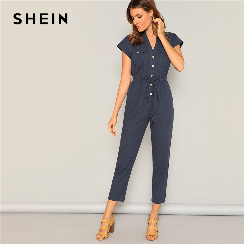 SHEIN Navy Waist Drawstring Button and Pocket Front Solid Cap Sleeve Jumpsuit Women Summer Casual Highstreet Workwear Jumpsuits