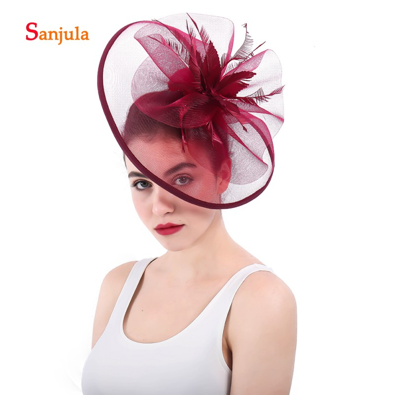 Burgundy Bridal Hats 2018 Big Hats Tulle Flowers Feathers Fascinators Wedding Hair Accessories with Hair Clips H26