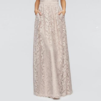 Vintage 2017 Beige Lace Long Skirts For Women With Pockets High End Female Adult Skirt Bow