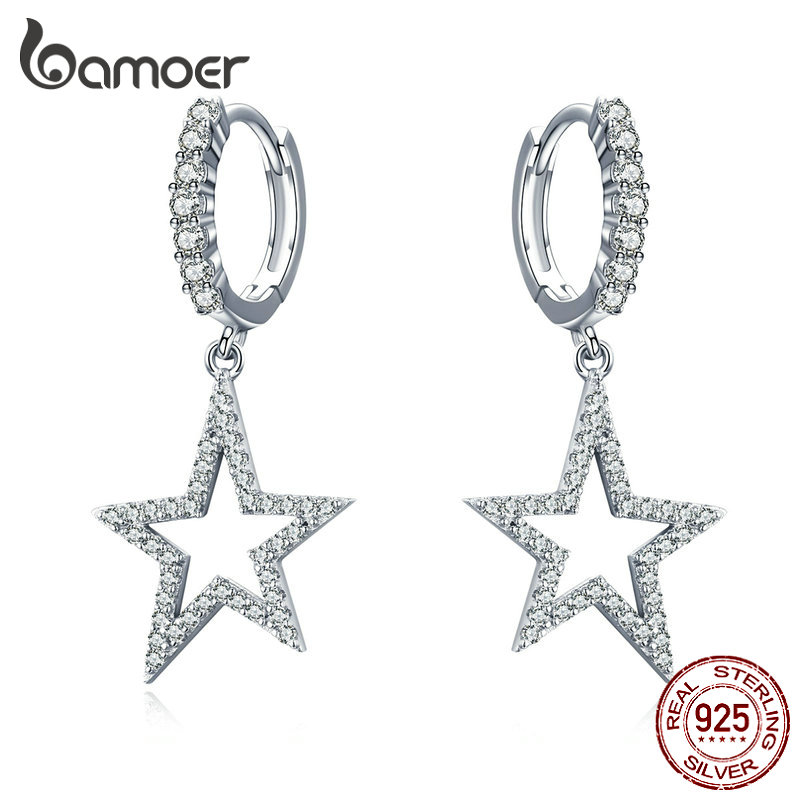 BAMOER Star Dangle Earrings For Women Sparkling Clear CZ Drop Earring Sterling Silver 925 Engagement Wedding Jewelry SCE593
