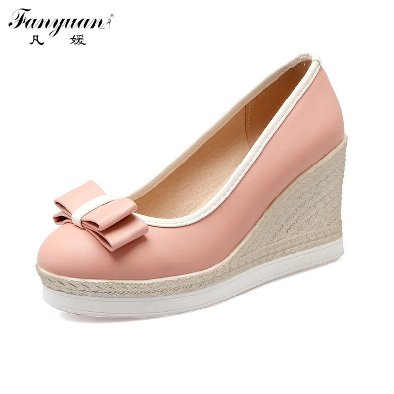 Fashion Design Women Wedge Pumps Office Lady Top Quality Pu Leather Slip On Casual Heel Round Toe Platform Female Working Shoes