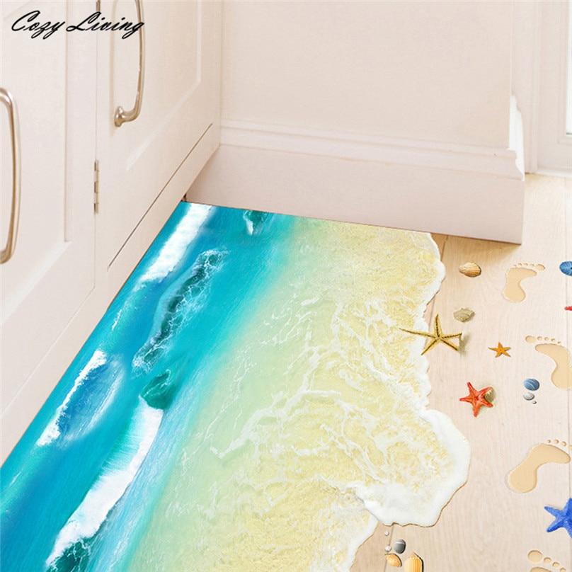 3D Floor Stickers 1 PC 3D Beach Floor Wall Sticker
