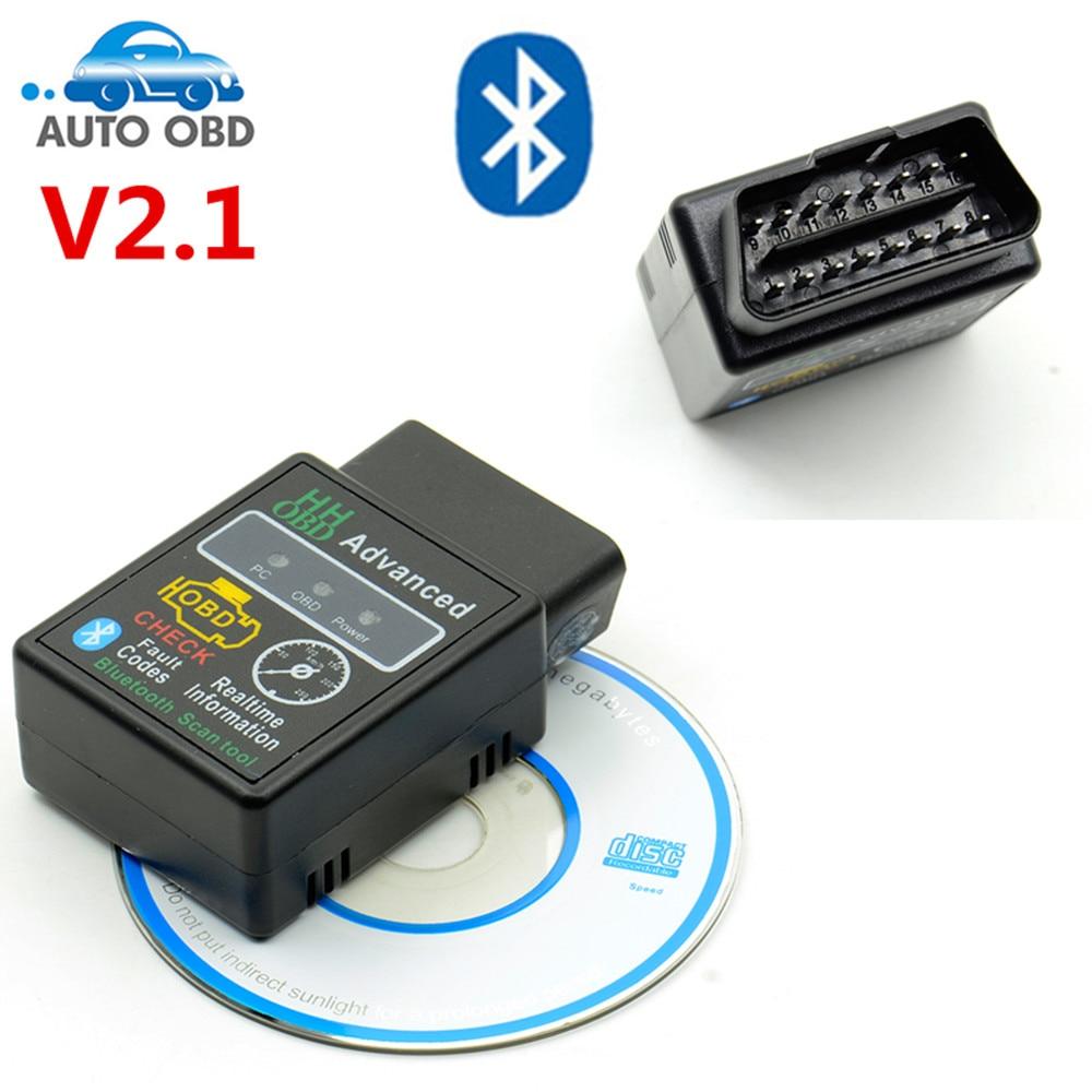 V2.1 HHOBD For Android Windows New SUPER MINI ELM327 HHOBD HH OBD Bluetooth OBD2 V2.1 Black Smart Car Diagnostic Tool Free Ship