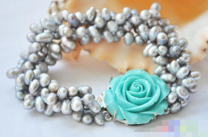 Hot selling>@@ 3718 4row 8 gray rice freshwater pearl bracelet blue flower Bride jewelry free shipping