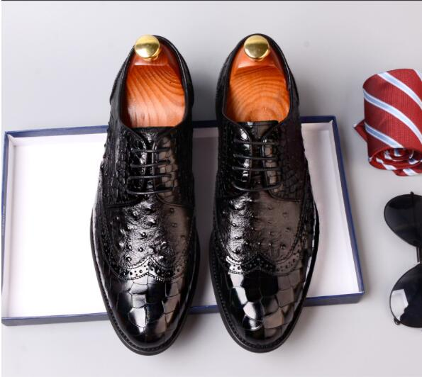 Men lace-up Crocodile pattern Bullock carved Shoes Genuine Leather pointed toe oxford For Men New men Business Casual shoes Men lace-up Crocodile pattern Bullock carved Shoes Genuine Leather pointed toe oxford For Men New men Business Casual shoes