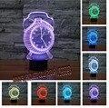New Fashion 3D Alarm Clock Night Light Mudança de 7 Cores 3D luz noturna Humor Sala Quarto Cafe Bar Iluminação Da Lâmpada Presente da Criança