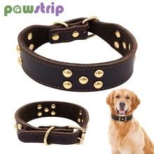 Rivet Large Dog Collar Adjustable Leather Pet Puppy Collars For Husky Labrador German Shepherd Durable D Ring Buckle